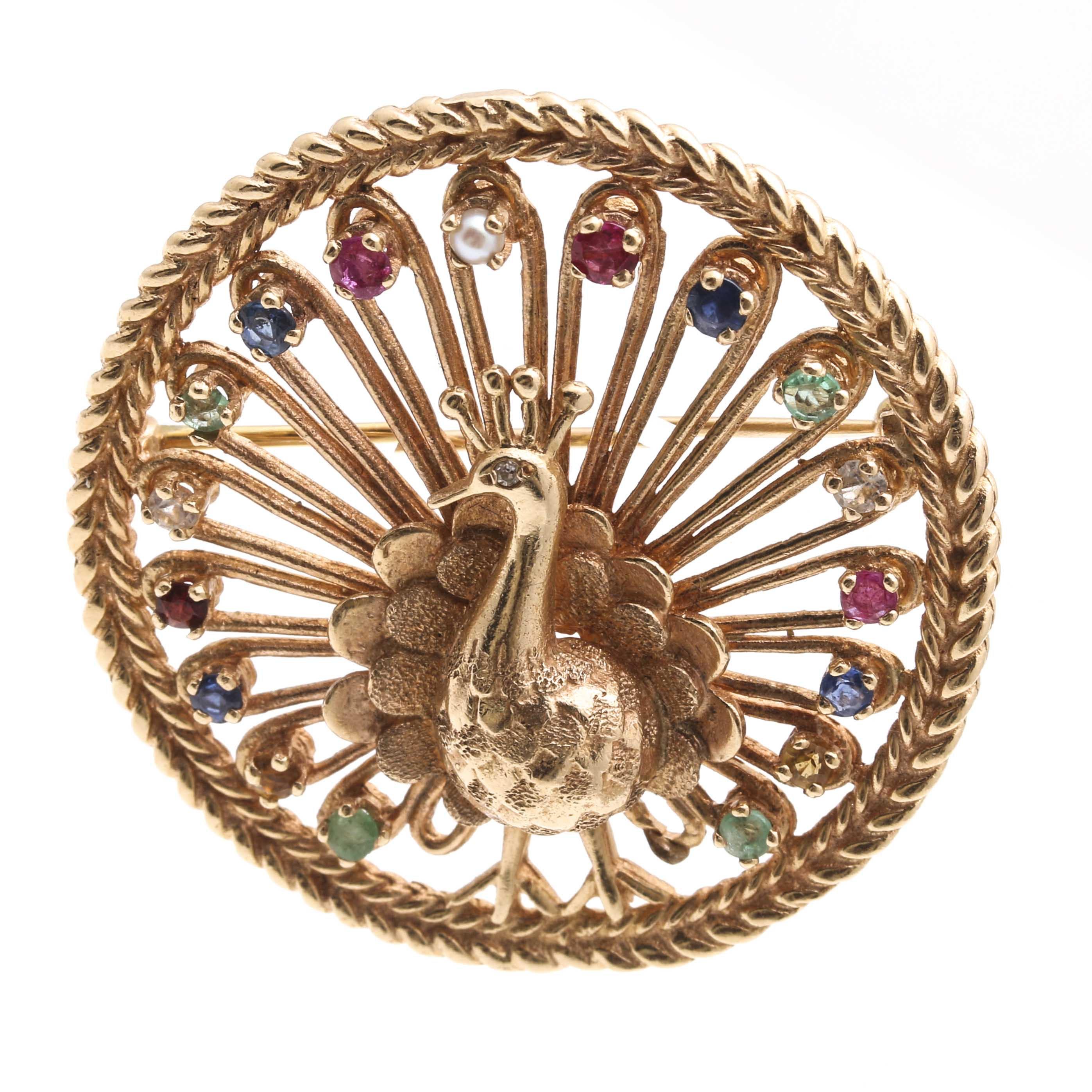 14K Yellow Gold Gemstone Peacock Brooch