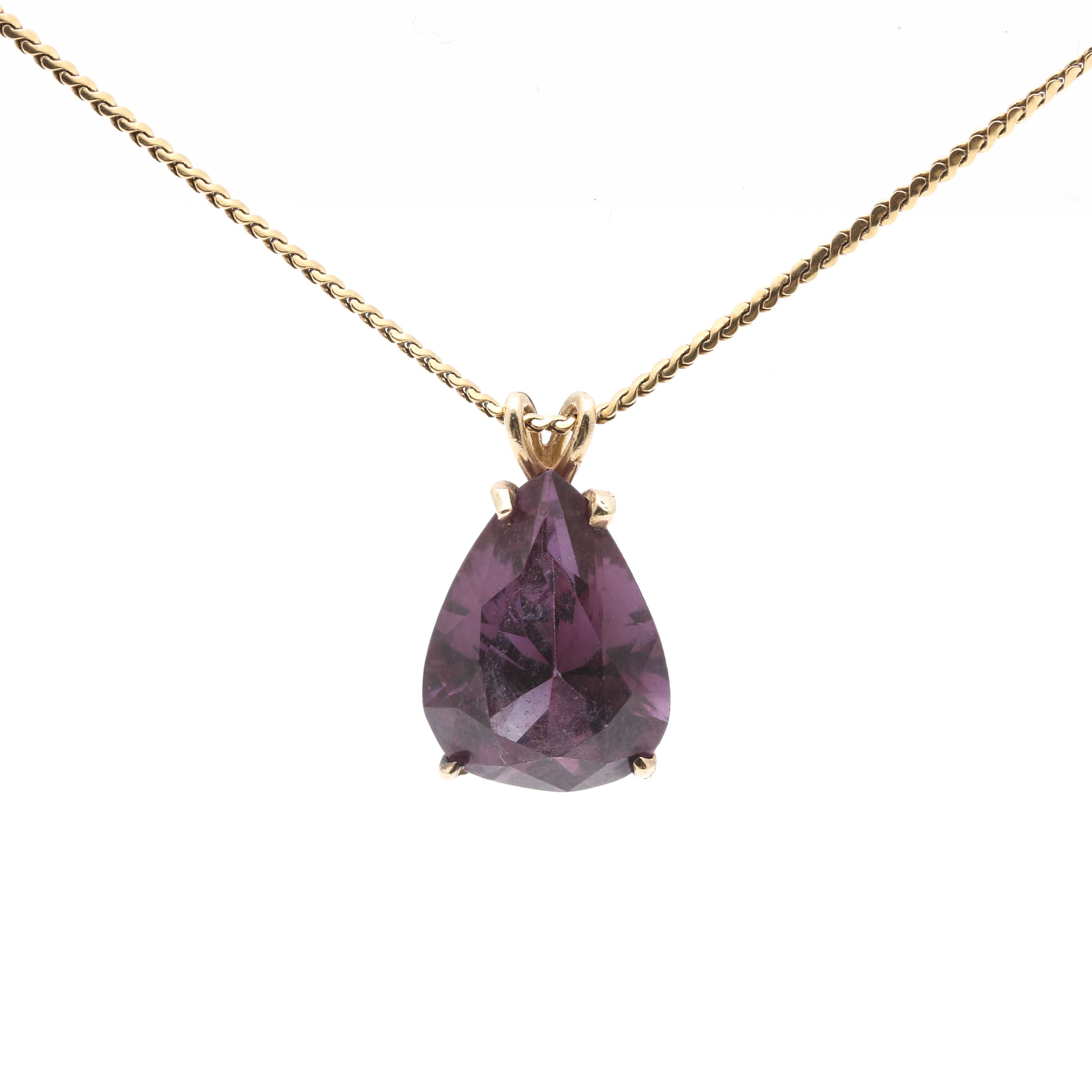 14K Yellow Gold Sapphire Pendant and 18K Yellow Gold Chain