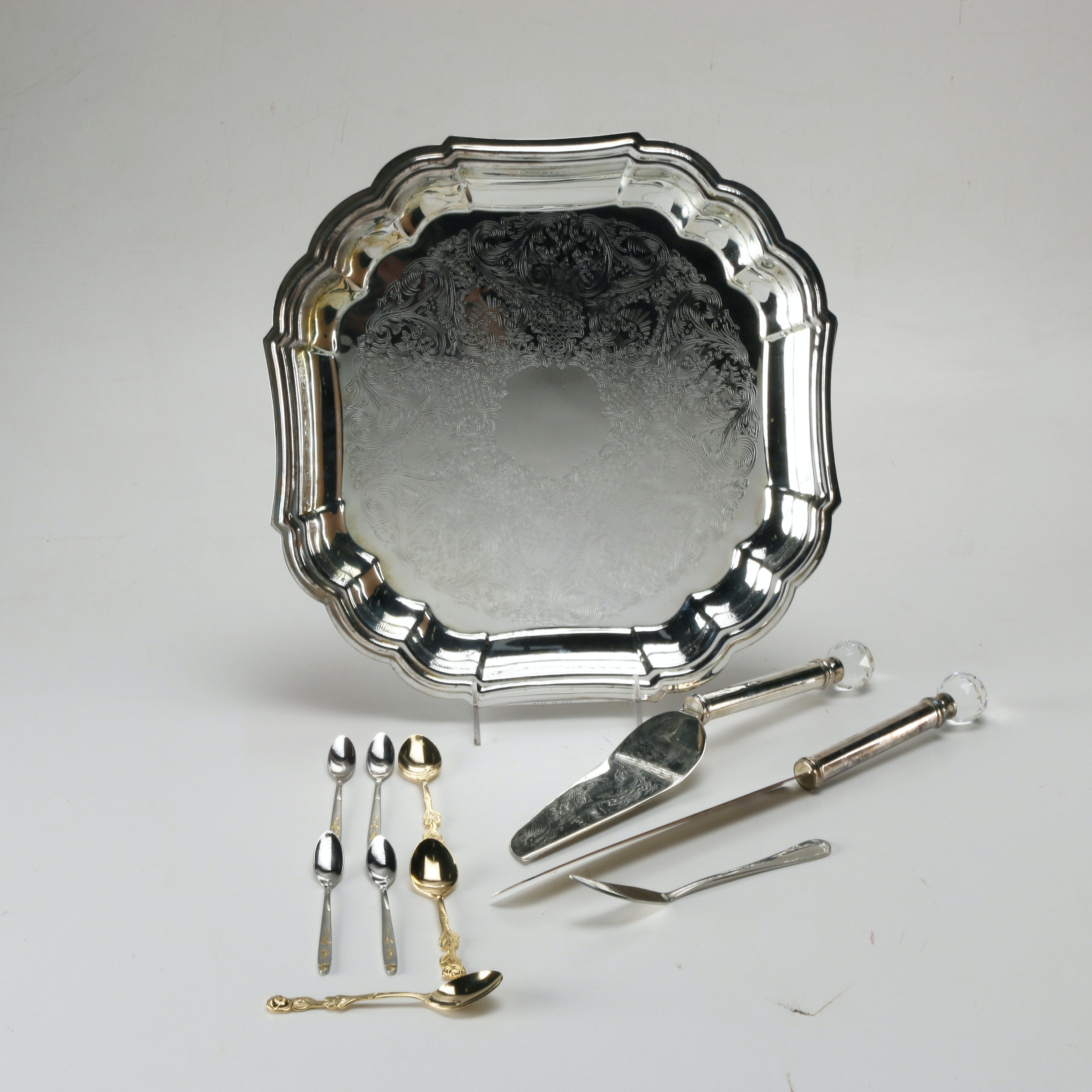 Collection of Assorted Silver Plate and Stainless Serving Ware