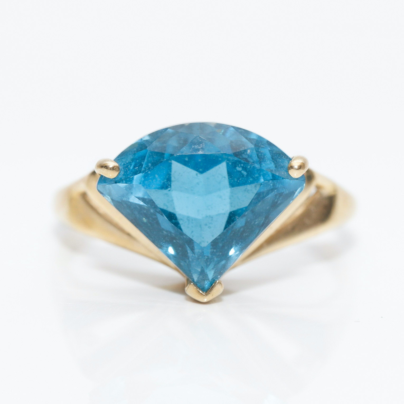 14K Yellow Gold Blue Topaz Modified Triangle Cut Ring