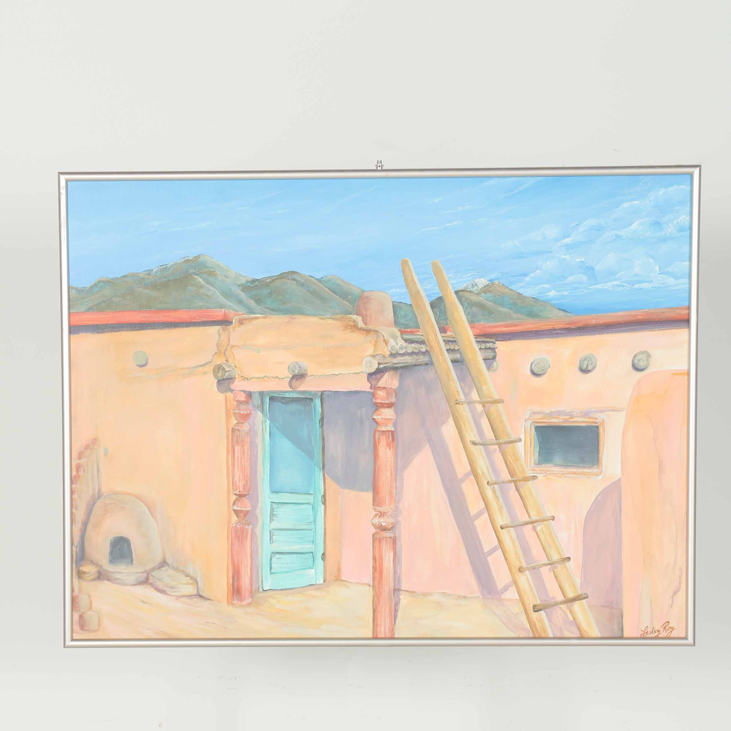 Lesley Roy Oil on Canvas of an Adobe House