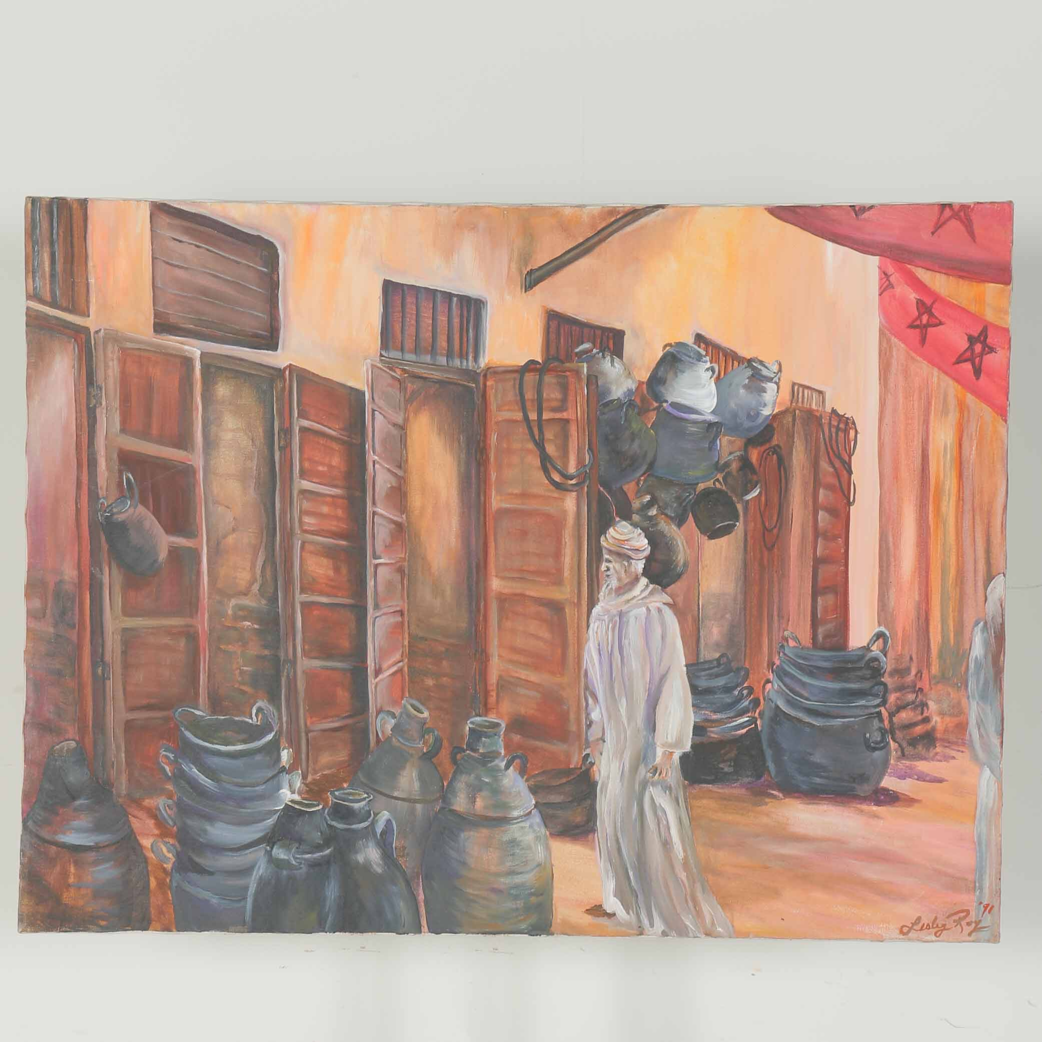 Lesley Roy Original Oil Painting on Canvas of a Man on a Street