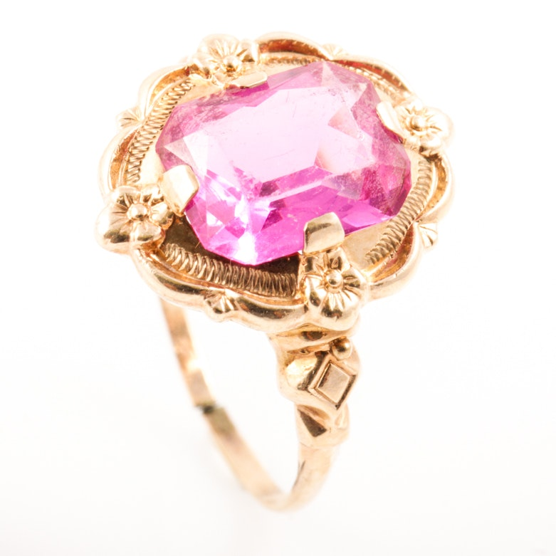 10K Yellow Gold and Faceted Pink Glass Cocktail Ring