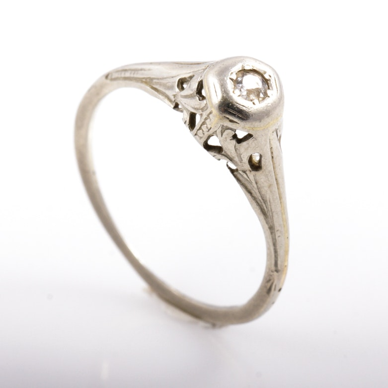 Edwardian 14K White Gold and Diamond Engagement Ring