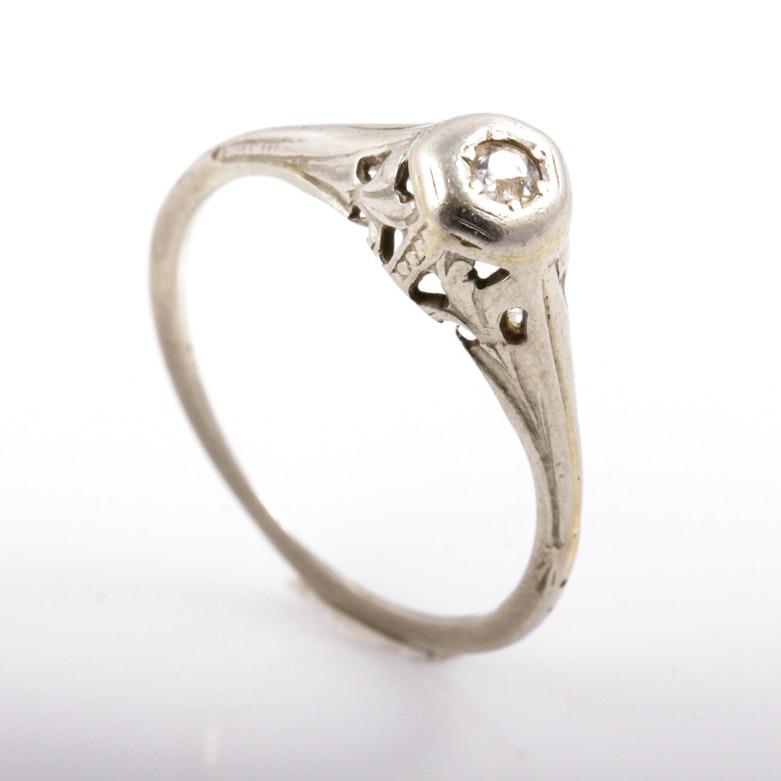 Edwardian 14K White Gold and Diamond Engagement Ring