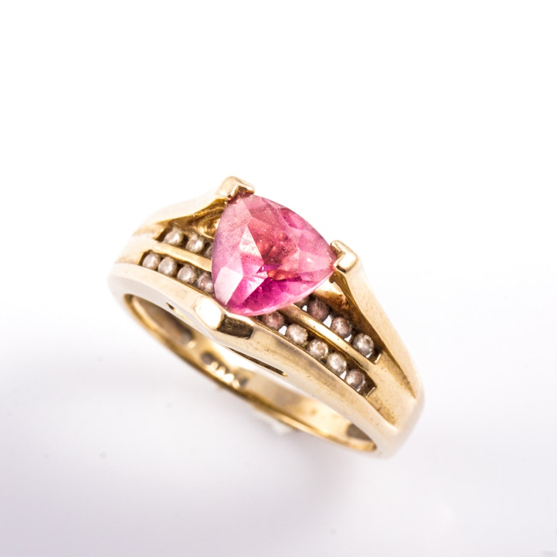 14K Yellow Gold, Tourmaline, and Diamond Ring