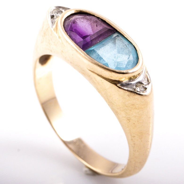 14K Yellow Gold, Amethyst, Blue Topaz, and Diamond Ring