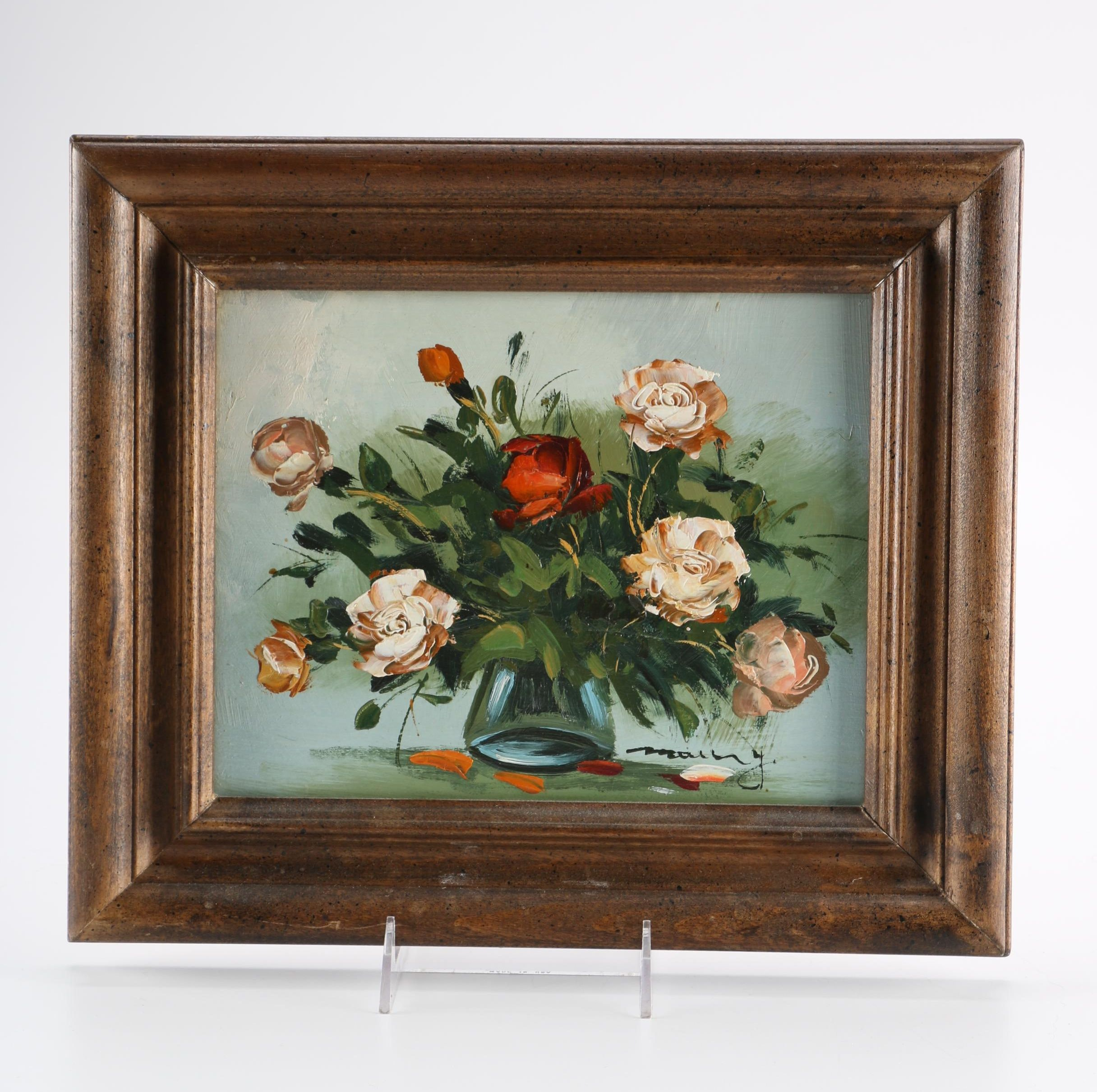 Signed Floral Oil Painting on Board