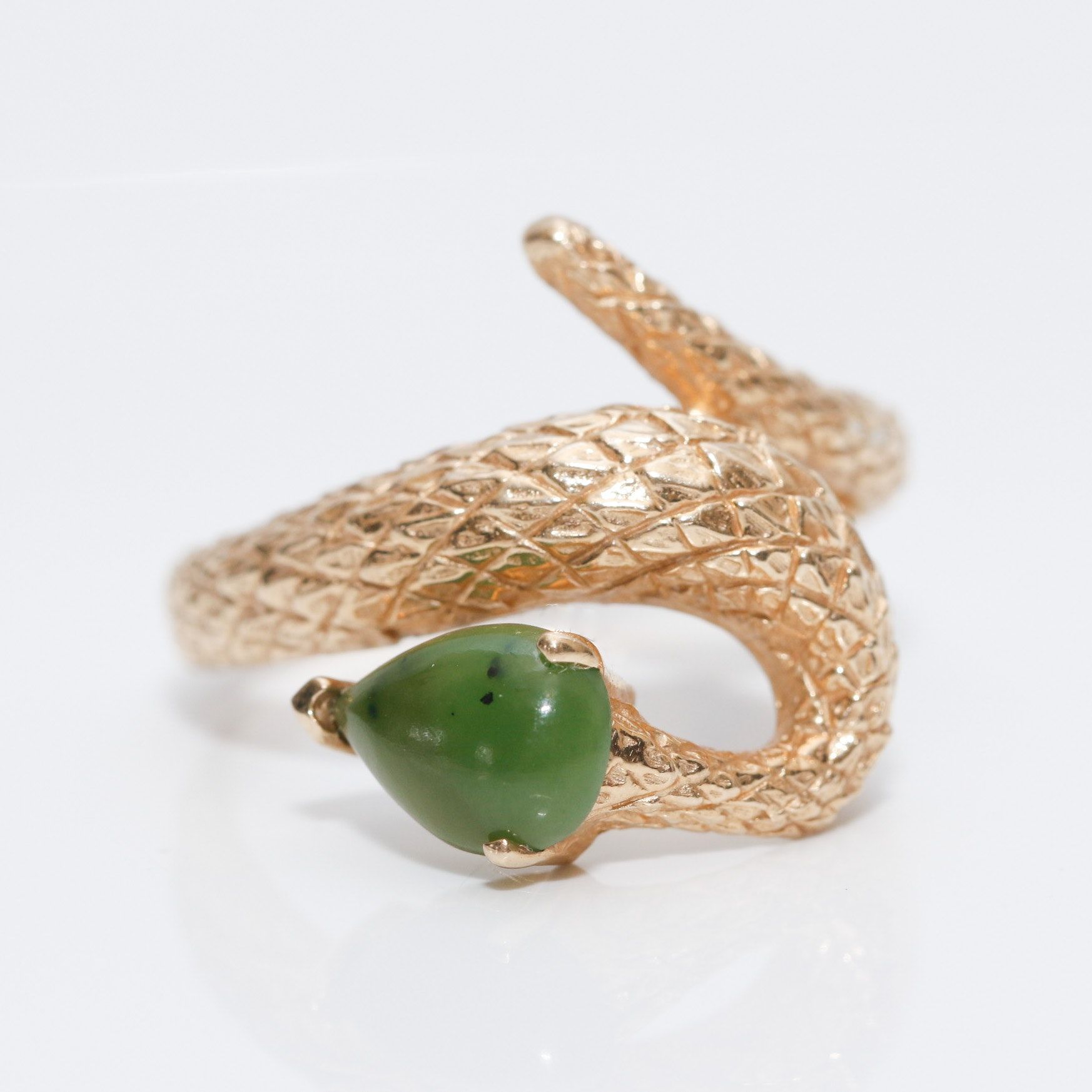 10K Yellow Gold Nephrite Serpent Ring