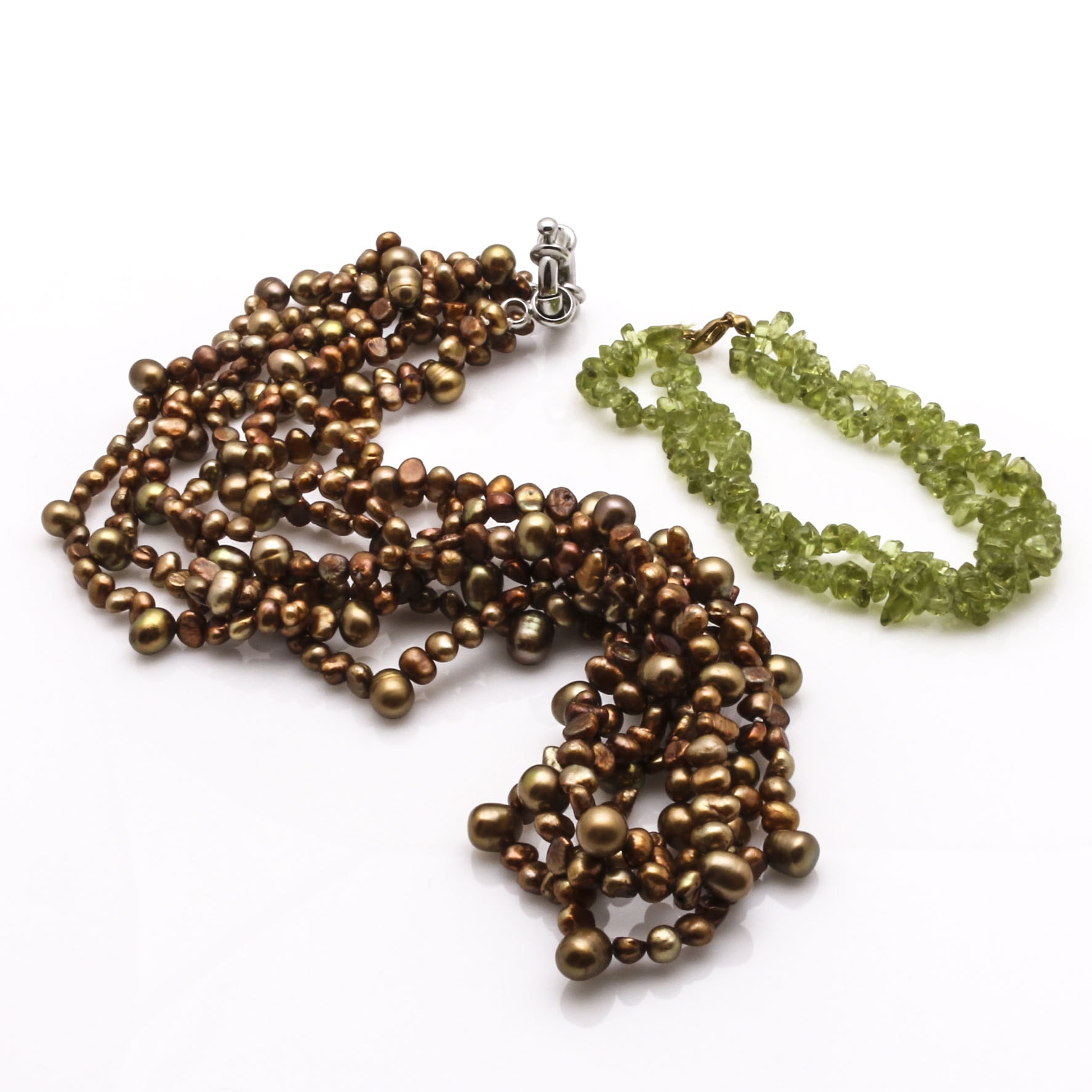 Cultured Freshwater Copper Pearl Necklace and Peridot Bracelet