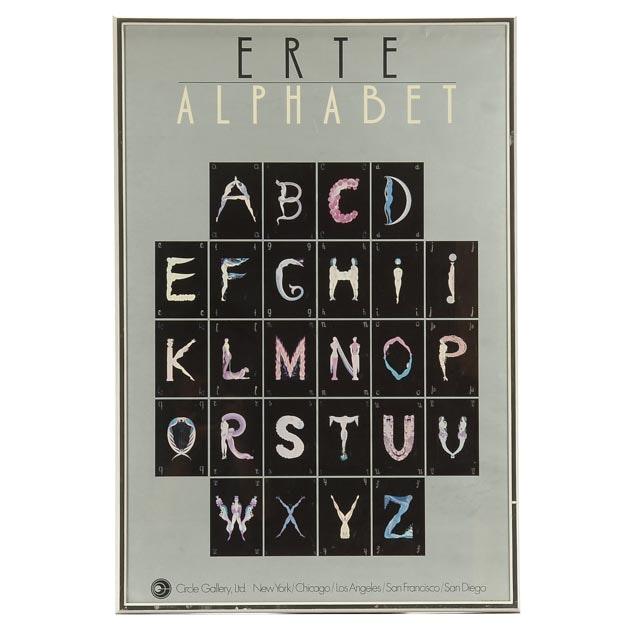 """Signed Erté Offset Lithograph """"Alphabet Series"""" Poster"""