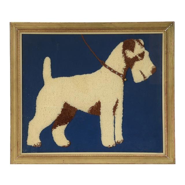 Mid-Century Tufted Needlepoint Embroidery of Airedale Terrier