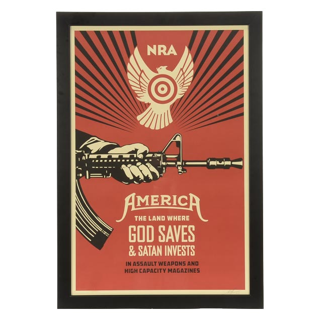 """Shepard Fairey Signed Open Edition Giclée """"God Saves & Satan Invests (NRA)"""""""