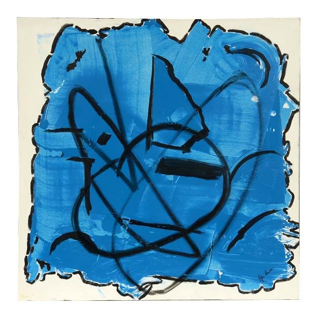 "Phyllis Rinaldi Original Acrylic Painting on Canvas ""Abstract Blue and Black"""