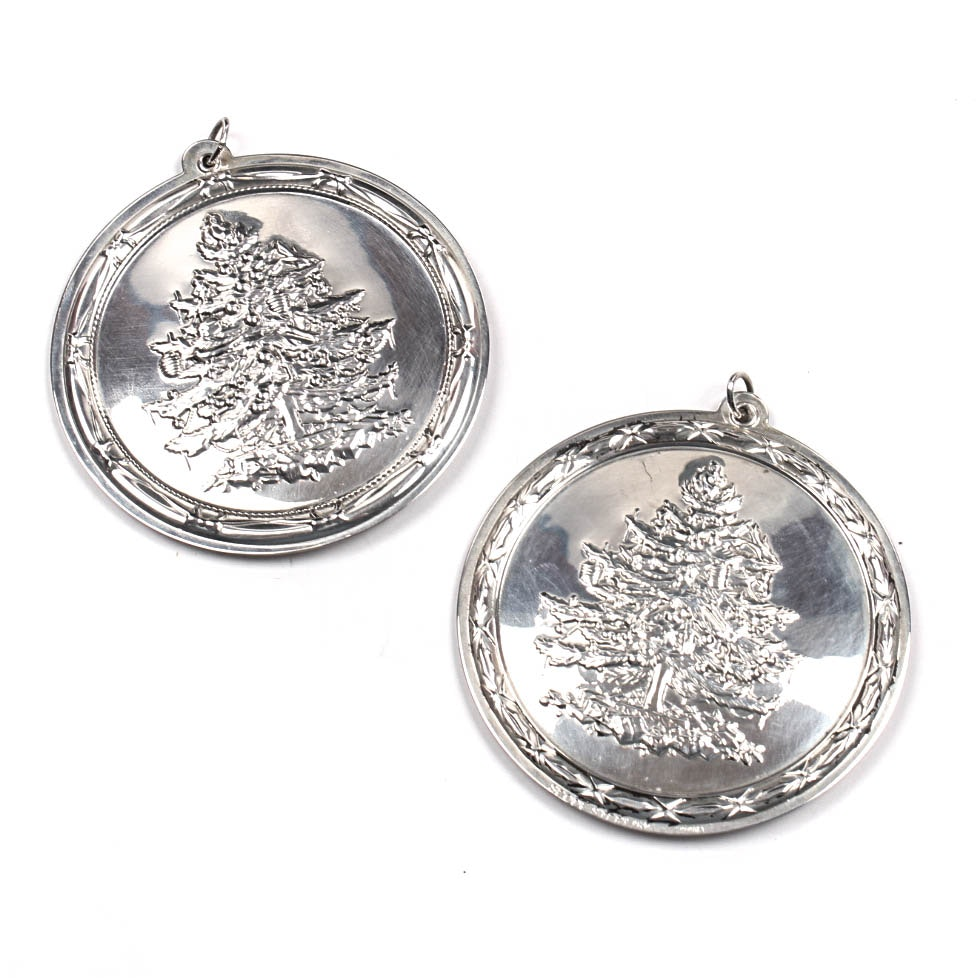 Sterling Silver Spode Christmas Ornaments