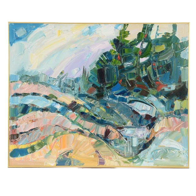 Jack Meanwell Original Oil on Canvas Abstracted Landscape