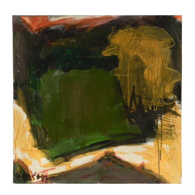 "Robbie Kemper Original Mixed Media Painting ""Green Shape"""