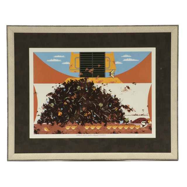 """Charley Harper Offset Lithograph """"Coming Soon: Quail Valley Condos"""""""