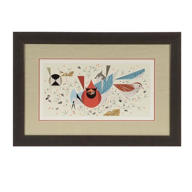 "Charley Harper Offset Lithograph ""Birdfeeders"""