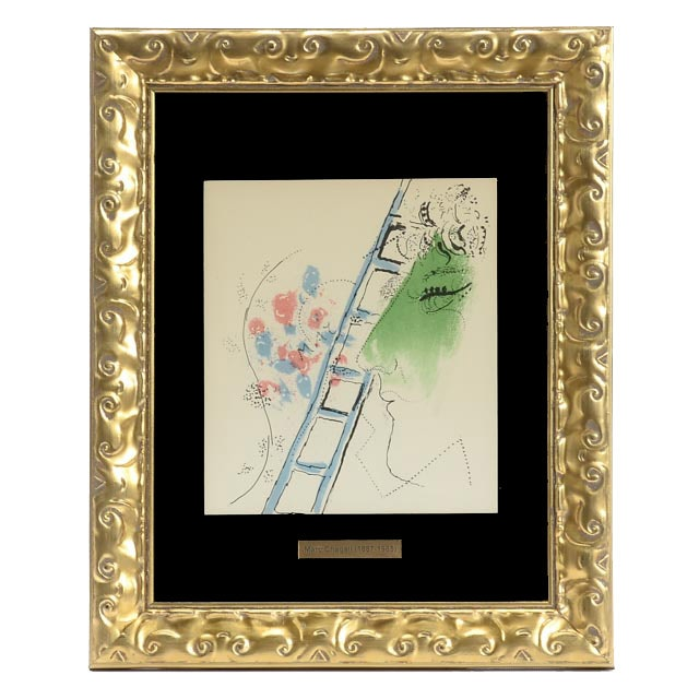 "Marc Chagall Unsigned Open Edition 1957 Lithograph ""The Ladder"""