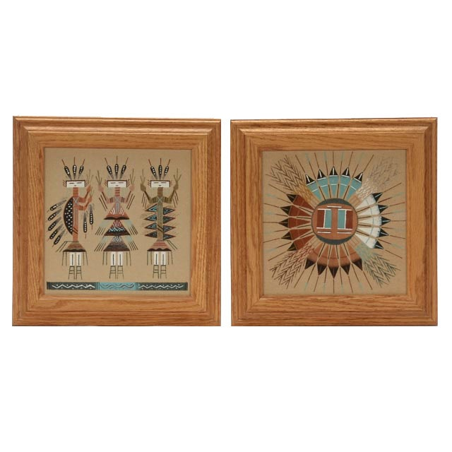 Two Native American-Style Folk Sand Paintings