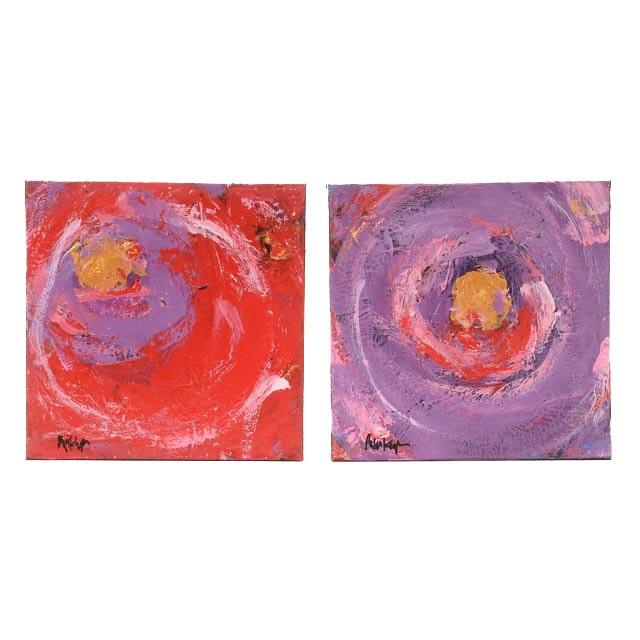 "Robbie Kemper Original Acrylic on Canvas Diptych ""Purple Circle Gold Dab"""