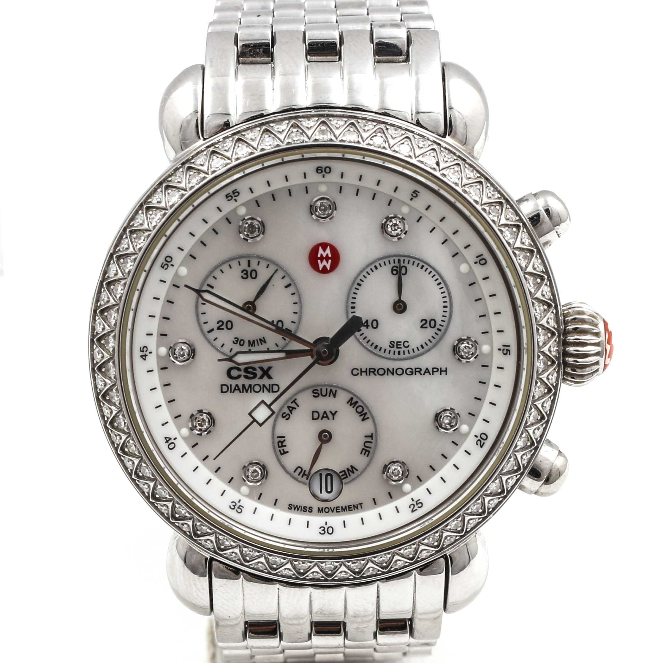 Stainless Steel Diamond Michele Wristwatch