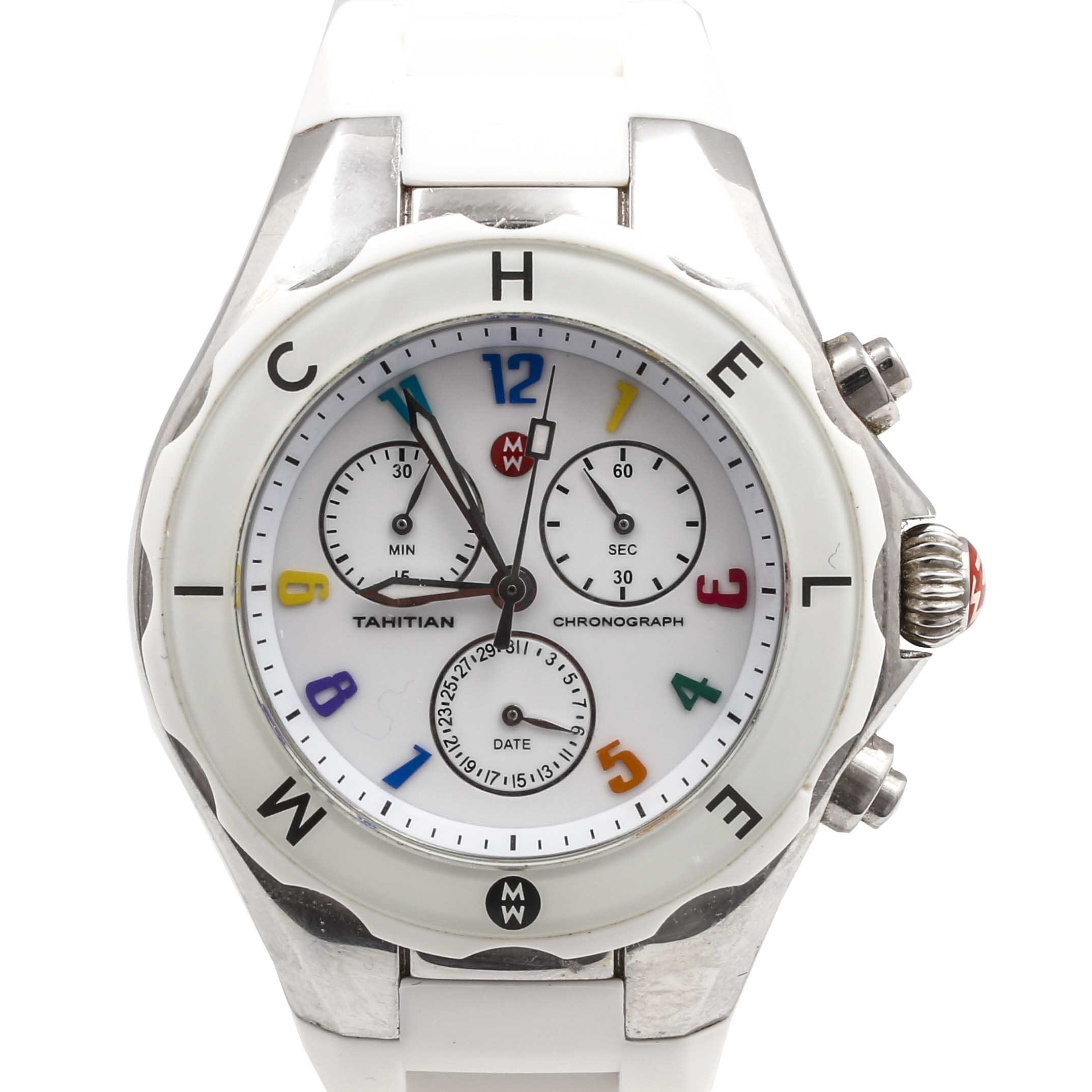 Michele Stainless Steel and Silicone Wristwatch
