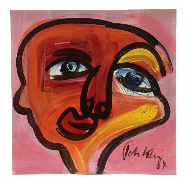 "Peter Keil Original Oil on Board ""Red Face"""