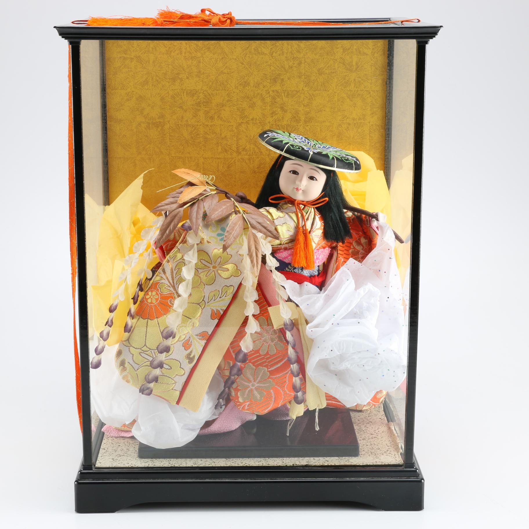 Traditional Style Japanese Doll in Glass Case