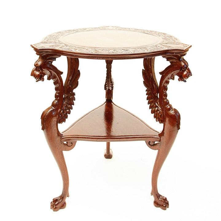antique victorian renaissance revival griffin-carved parlor table