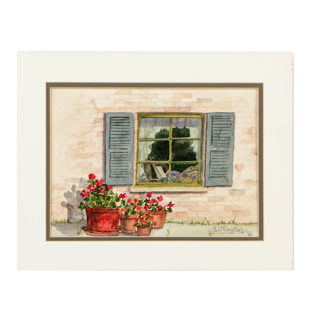 """Radia S. Pfingstag Watercolor Painting on Paper """"Frances' Window"""""""