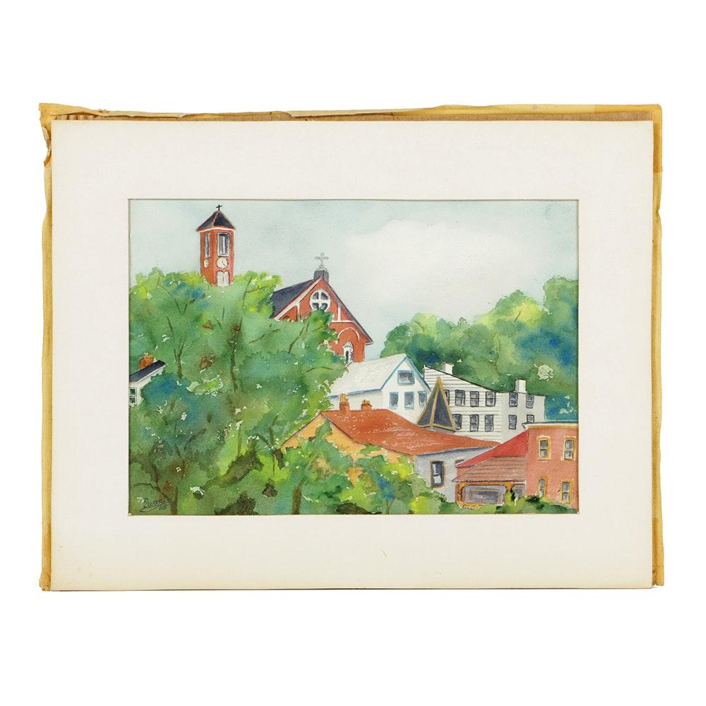 """Radia S. Pfingstag Watercolor on Paper """"Holy Cross - Mt. Adams"""""""