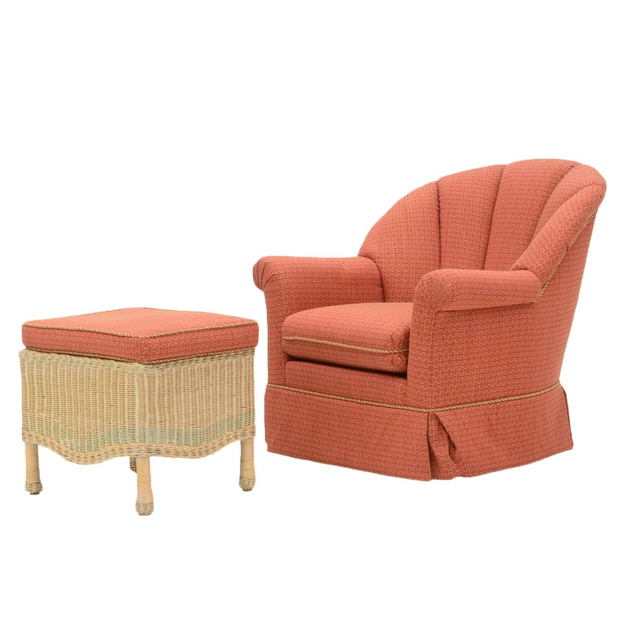 Cool Pink Trellis Patterned Rocking Chair And Ottoman Creativecarmelina Interior Chair Design Creativecarmelinacom