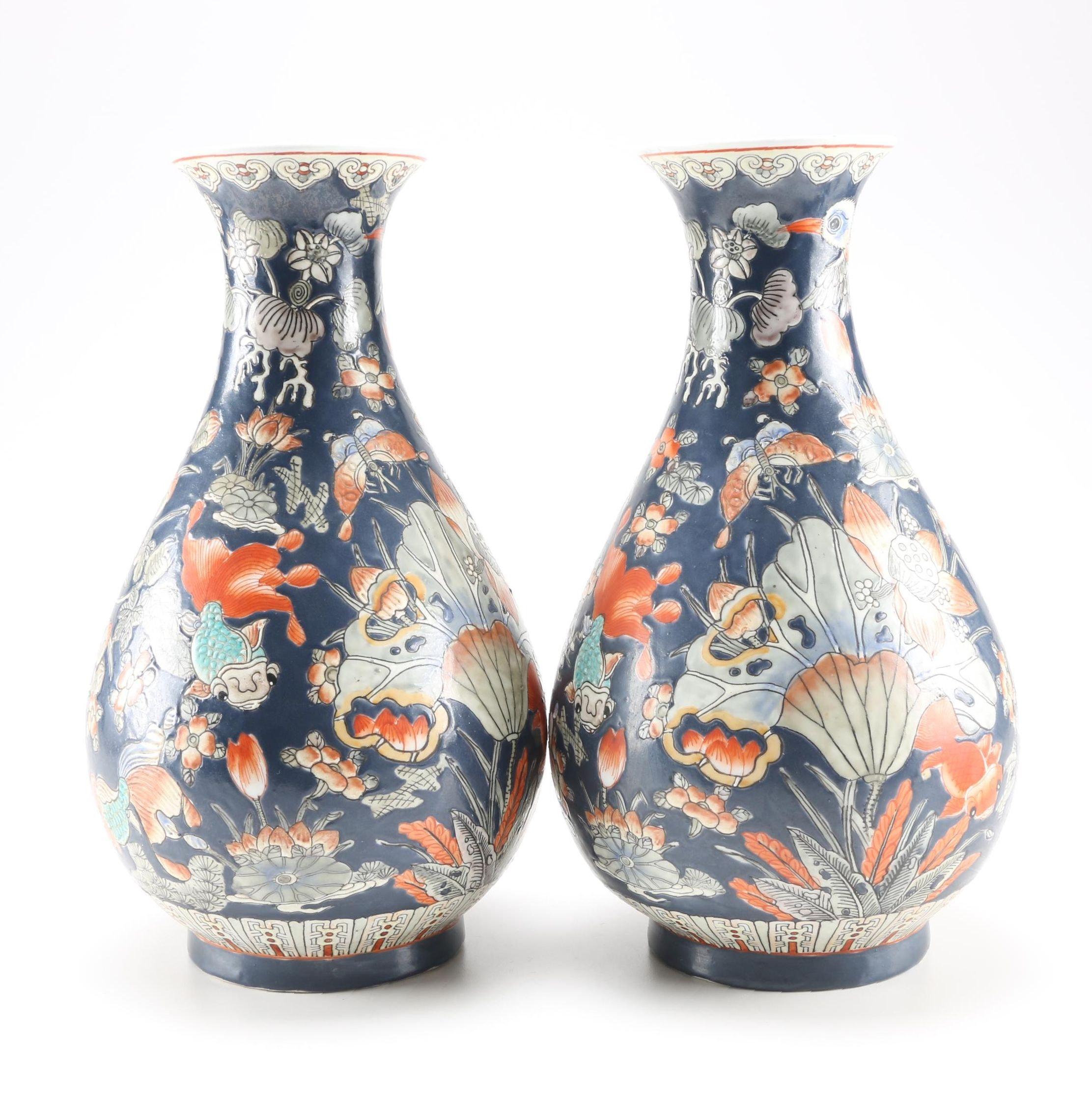 Pair of Large Chinese Ceramic Vases