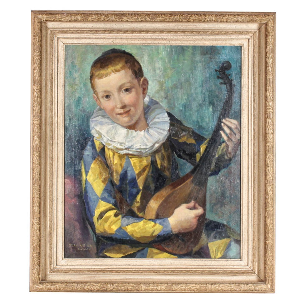 Vintage Oil Painting on Canvas of Boy Harlequin