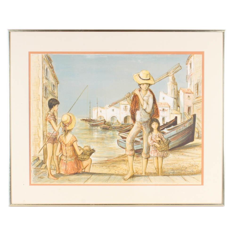"""Jacques Lalande Limited Edition Lithograph """"Retour de Peche"""""""