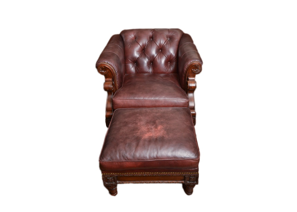 Hancock & Moore Leather Chair and Ottoman