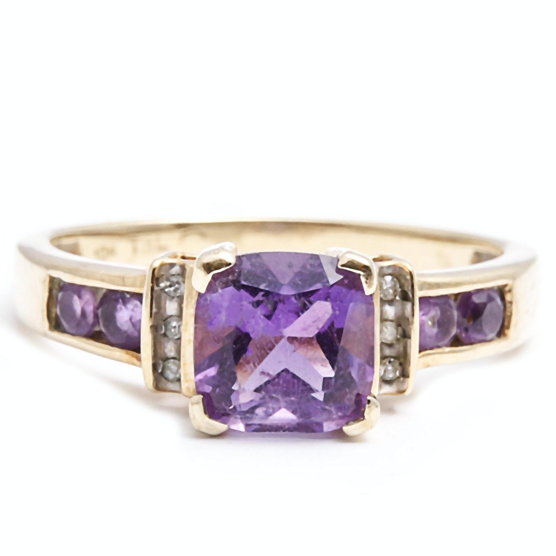 10K Gold Amethyst and Diamond Ring
