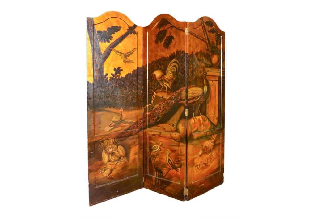 Large Three Part Painted Folding Screen With Bird Theme