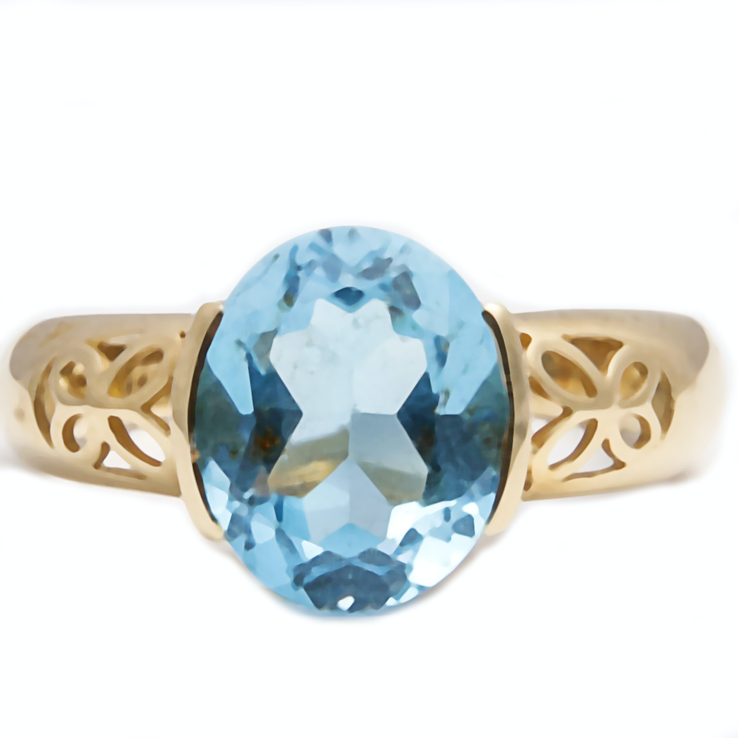 14K Gold Ring with Blue Topaz