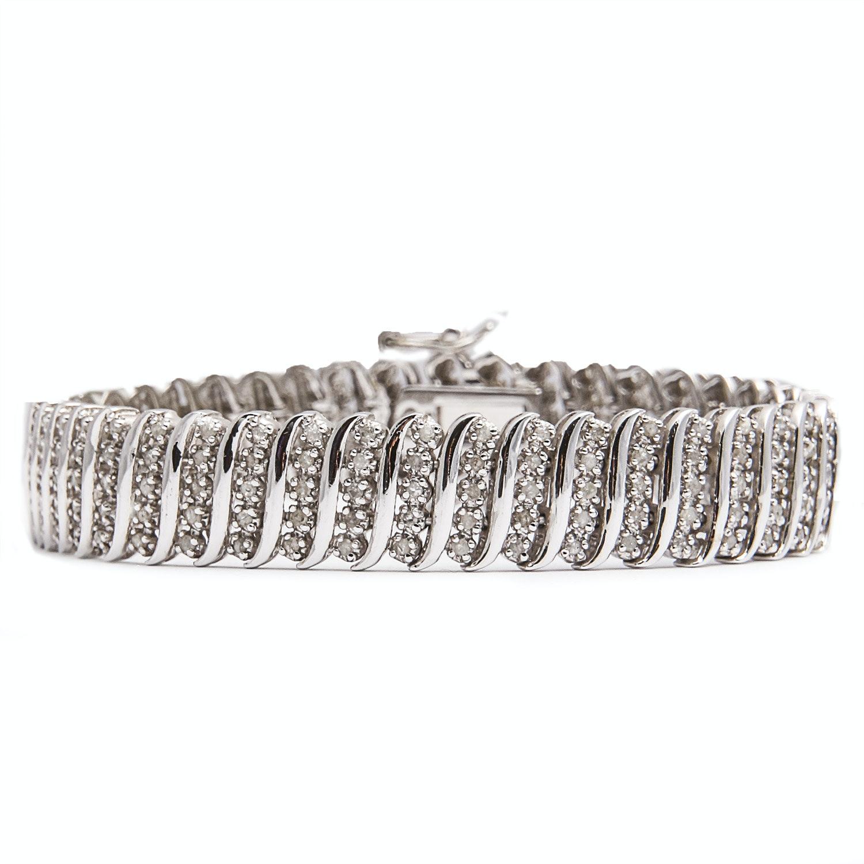 Sterling Silver Bracelet with Diamonds