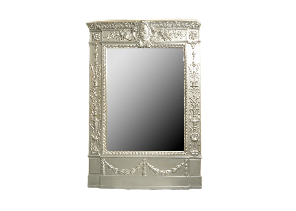 Ornate Mirror in the Federal Style With Silver Finish