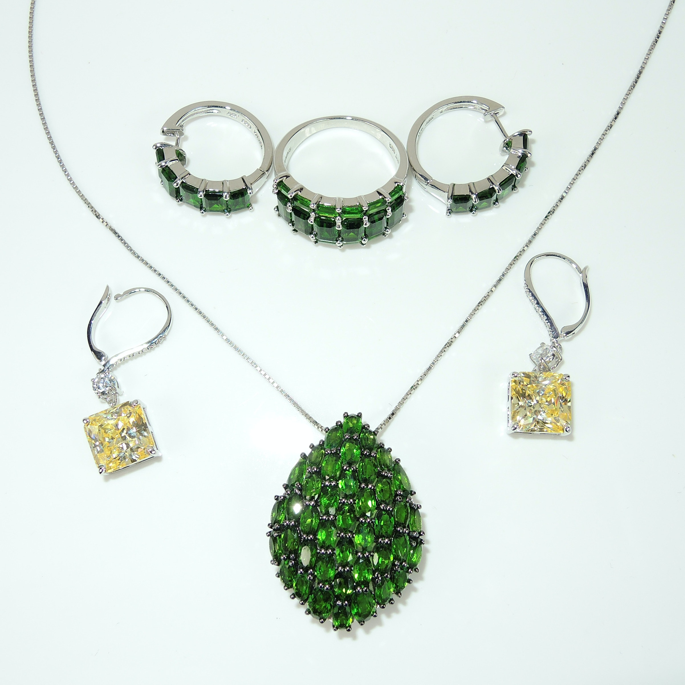 Chrome Diopside Necklace, Earrings and Ring in Sterling Silver