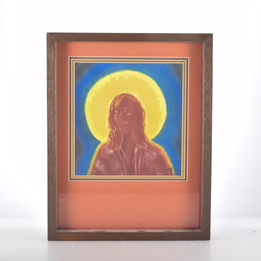 """Nancy Darland Original Oil Pastel on Paper """"Jesus, My Shepherd"""""""
