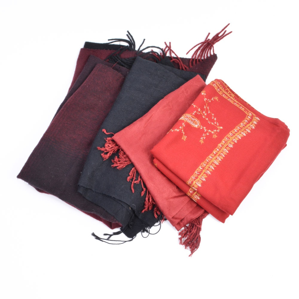 Collection of Black and Red Pashmina Shawls