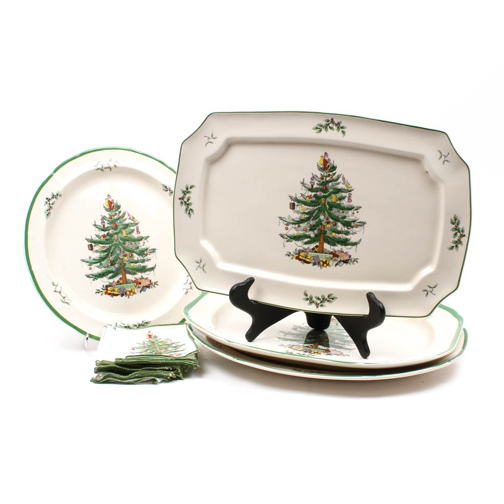 "Spode ""Christmas Tree"" Serving Platters and Cloth Napkins"