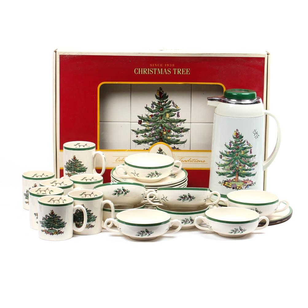 """Spode """"Christmas Tree"""" China Mugs and Bowls"""