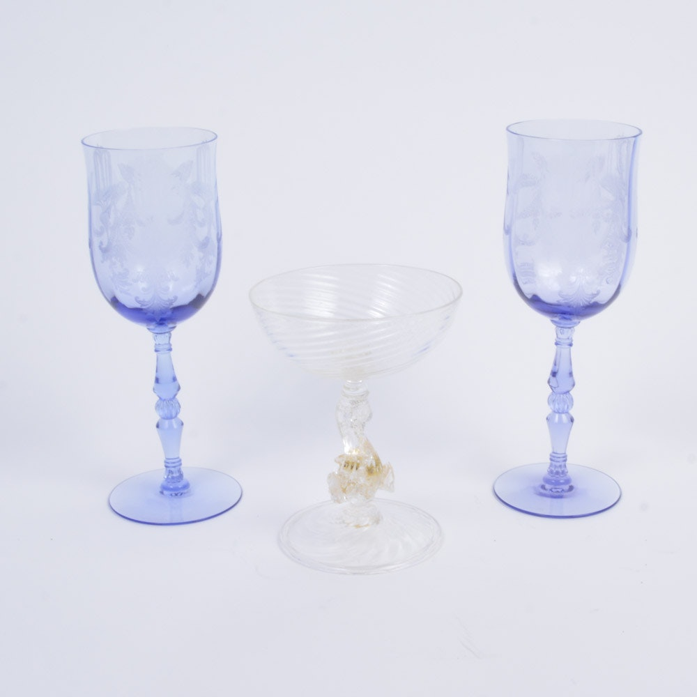 """Tiffin-Franciscan """"Fontaine"""" Water Goblets and Dolphin Stem Coupe"""