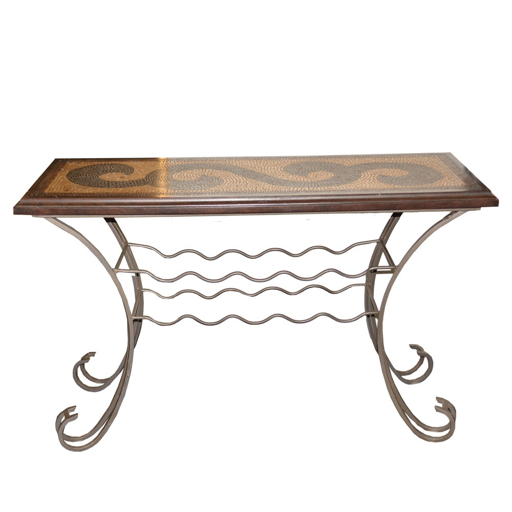 Elegant Scroll Mosaic Console Table With Wine Rack ...